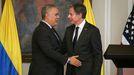 Iván Duque con el secretario de Estado de EE.UU. Antony Blinken