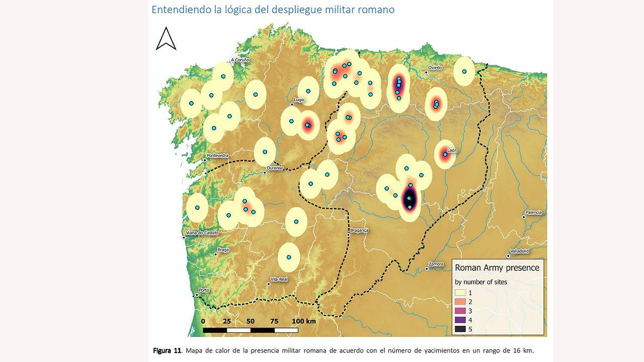 Mapa de calor de la presencia militar romana de acuerdo con el número de yacimientos en un rango de 16 km