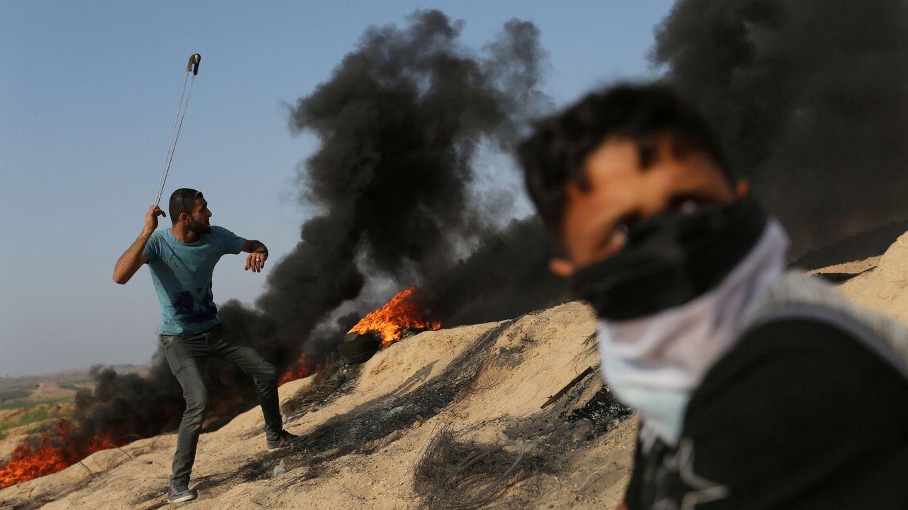 Protestas contra los controles de Israel en la Explanada de las Mezquitas.Manifestantes palestinos en Belén