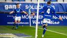 Edgar González celebra un gol ante el Castellón junto a Juanjo Nieto