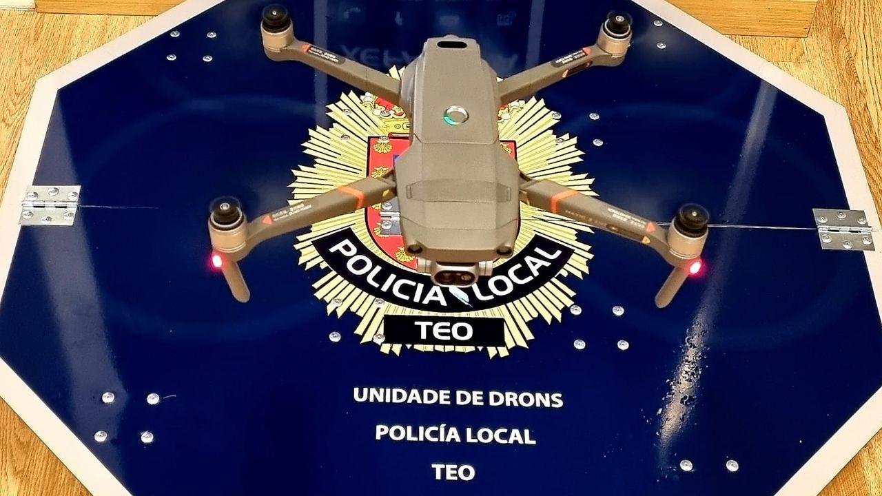 El dron de la Policía Local de Teo en acción