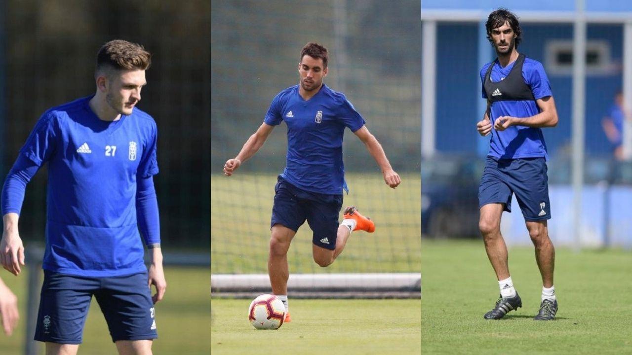 Alineacion Real Oviedo Nastic Carlos Tartiere.Viti, Diegui Johannesson y Carlos Martínez