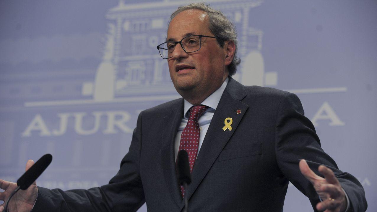 El presidente de la Generalitat, Quim Torra, en una conferencia en Vitoria en el 2018