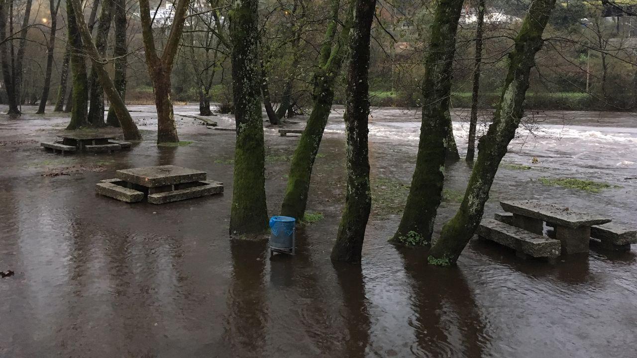 ASÍ HA CASTIGADO EL TEMPORAL A OURENSE.El río Avia desbordado en A Veronza en Ribadavia