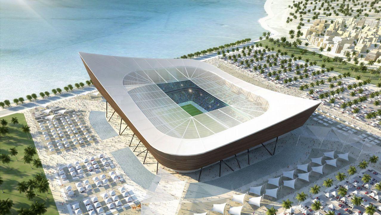 Imagen 3D creada por ordenador facilitada por el Comité de organización del Mundial de fútbol Qatar 2022 hoy, lunes, 6 de diciembre de 2010, que muestra la propuesta del que será el estadio Al-Shamal de la ciudad qatarí de Al-Shamal, una de las sedes del Mundial de fútbol Qatar 2022. El estadio Al-Shamal tendrá capacidad para 25.500 personas.