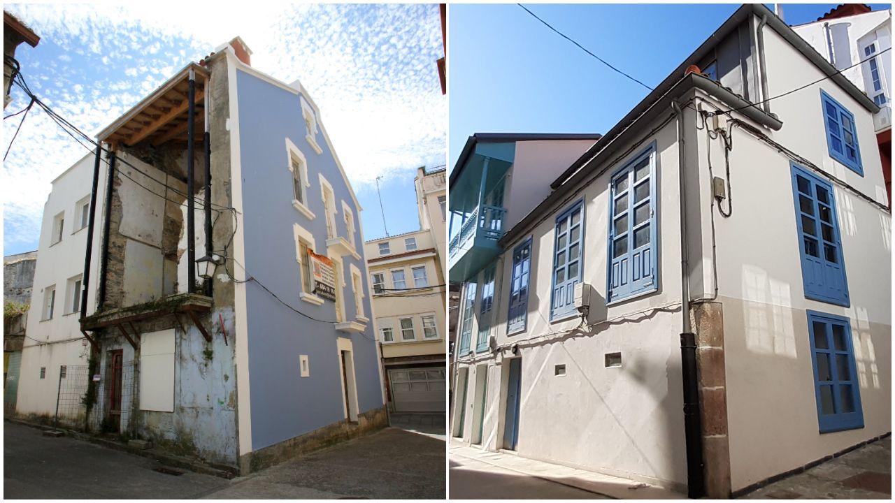 Dos ejemplos en barrios tradicionales. En Betanzos y Ferrol Vello se han puesto en marcha casi una veintena de proyectos de recuperación, como estos dos casos, uno ya listo en el primero de los municipios; y uno a punto en el segundo, que será albergue
