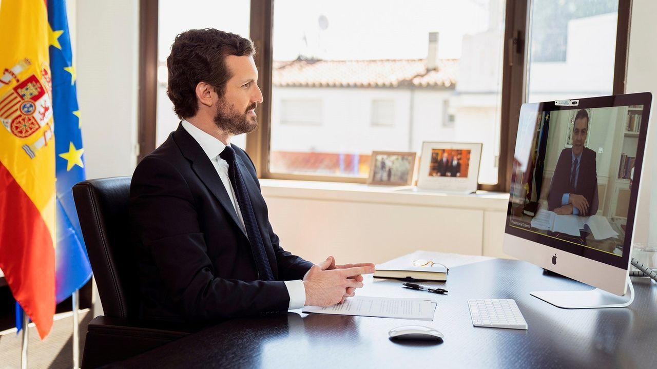 Casado, esta mañana durante su videoconferencia con Pedro Sánchez