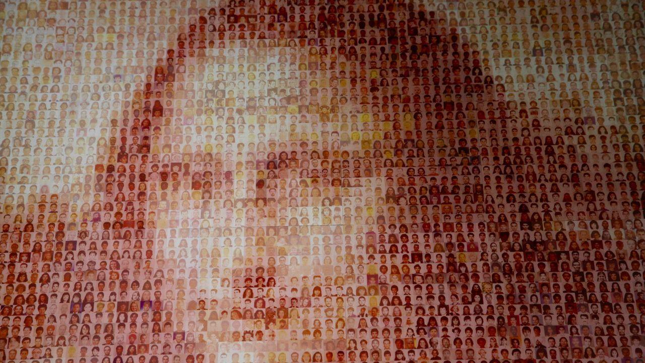 mona.La imagen de la Humanidad. Eso es lo que quiere transmitir la obra. Un trabajo colectivo y totalmente manual. Se tuvieron que escanear, una a una, todas las fotos, más de 10.000 en total. «Según su color predominante se asignaron a un punto de la Gioconda, a una de las múltiples cuadrículas. El resultado se imprimió en varios paneles, no existía impresora capaz de imprimirlo todo de una pieza», recuerda Moncho Núñez