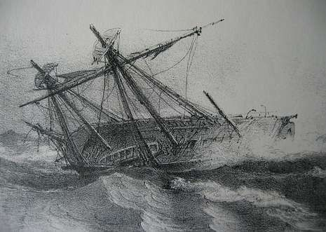 Recreación del naufragio del paquebote «La Cantabria» contra los bajos de As Quebrantas.