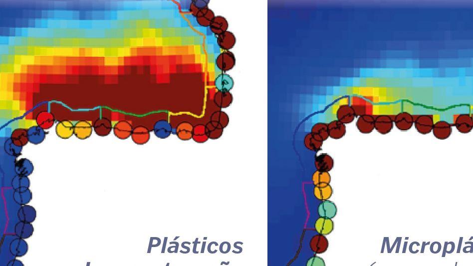 Concentración de partículas (en ?). Panel de la izquierda, plásticos de gran tamaño; panel de la derecha, microplásticos (-5mm). Los círculos representan la concentración en costa. Fuente: The Bay of Biscay as a trapping zone for exogenous plastics of different sizes