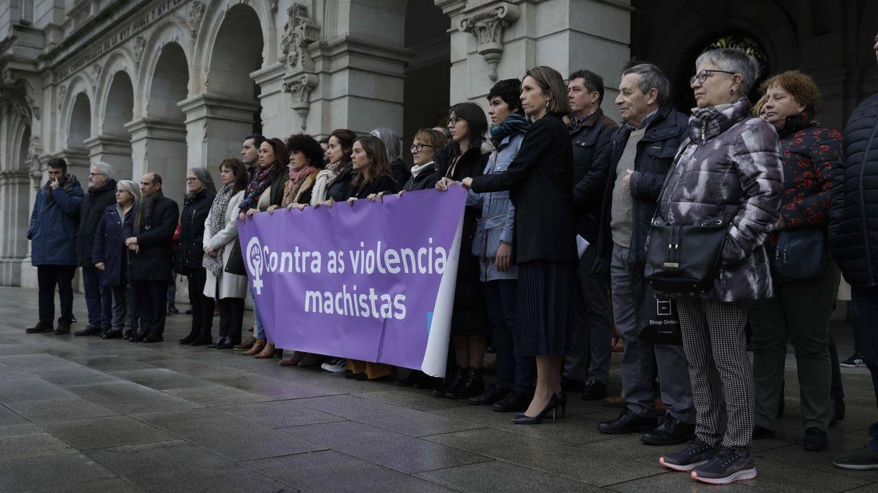 Concentración en A Coruña el pasado mes de enero en protesta por uno de los dos asesinatos machistas de este año en Galicia