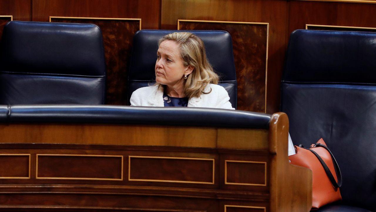 La vicepresidenta Nadia Calviño, en el pleno del Congreso que aprobó la prórroga del estado de alarma