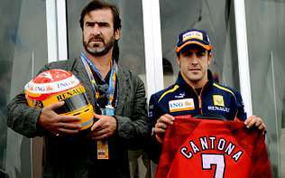 Lara Álvarez y Fernando Alonso.Fernando Alonso, junto a Eric Cantona en Silverstone