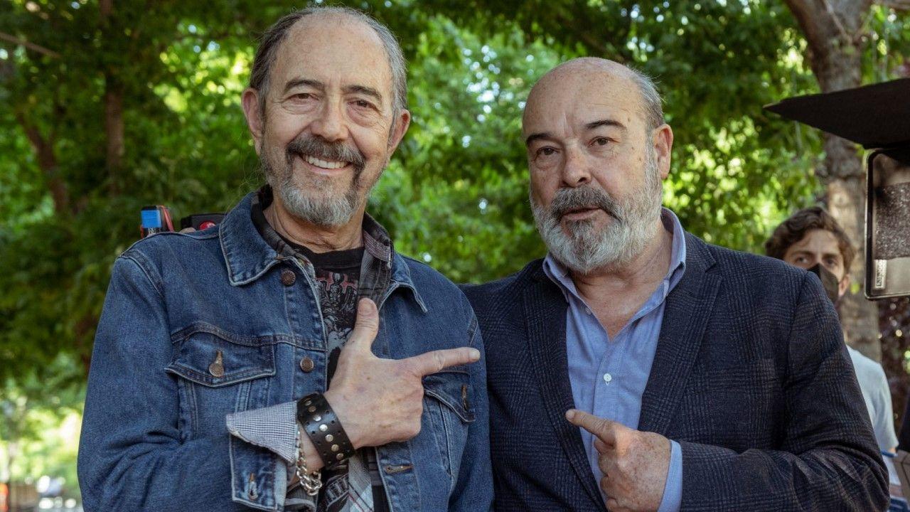 Miguel Rellán y Antonio Resines, durante el rodaje
