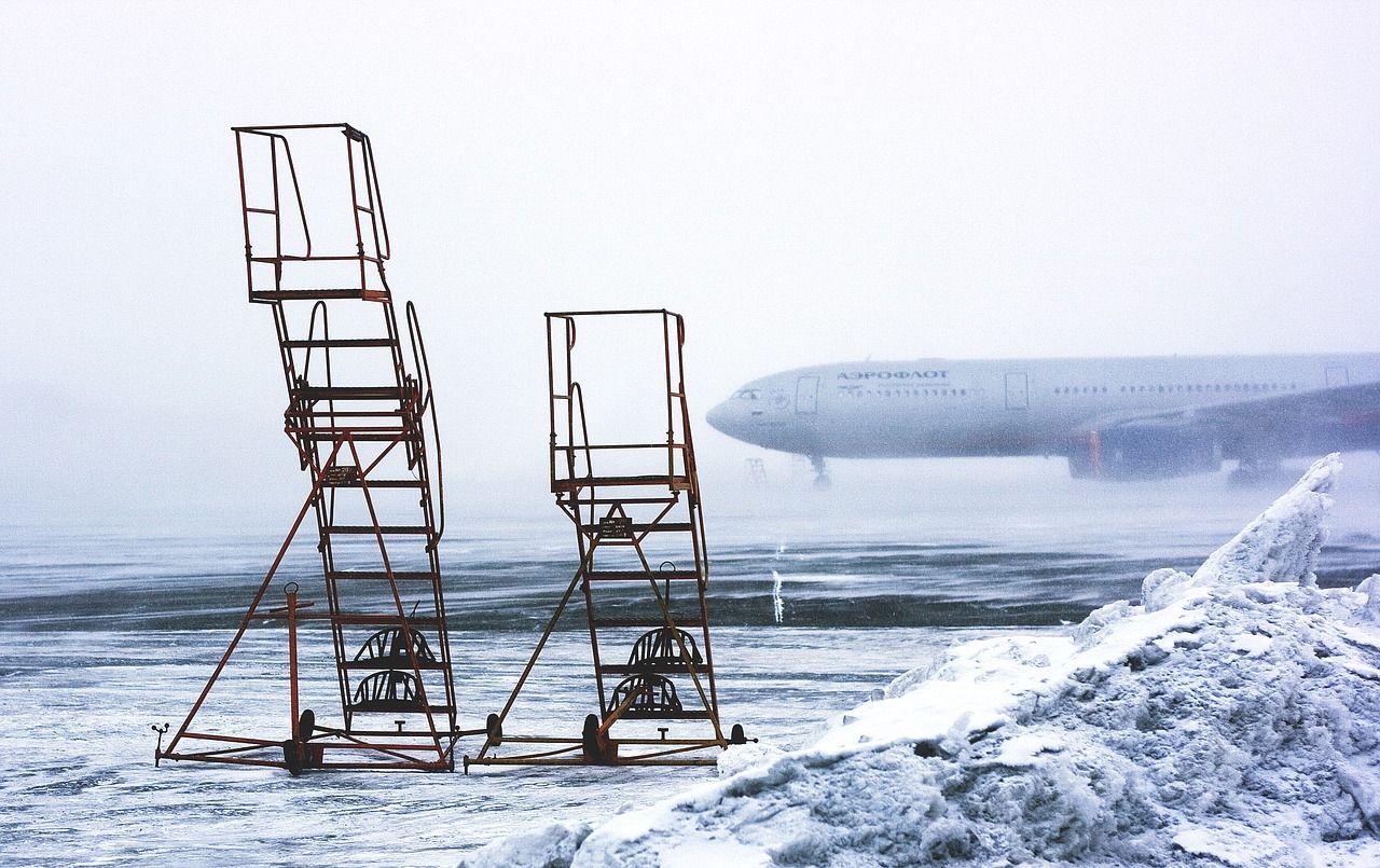 Aeropuerto con nevada.Aeropuerto con nevada