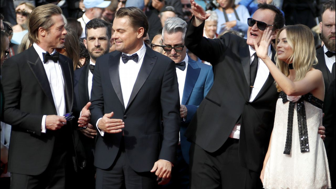 Brad Pitt, Leonardo DiCaprio, Quentin Tarantino y Margot Robbie