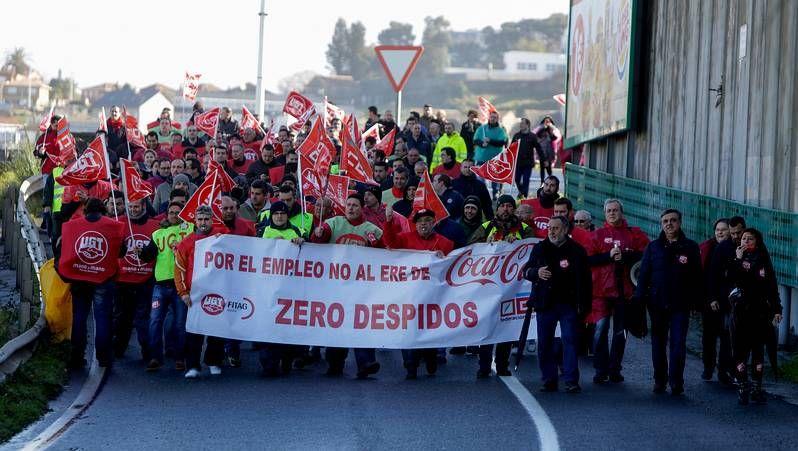 Manifestación de los trabajadores de Coca Cola