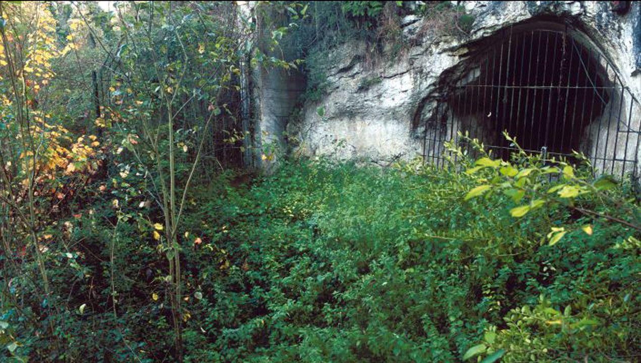Entrada de la cueva de Las Caldas, en Oviedo. Este importante refugio prehistórico estuvo habitado durante al menos ocho milenios