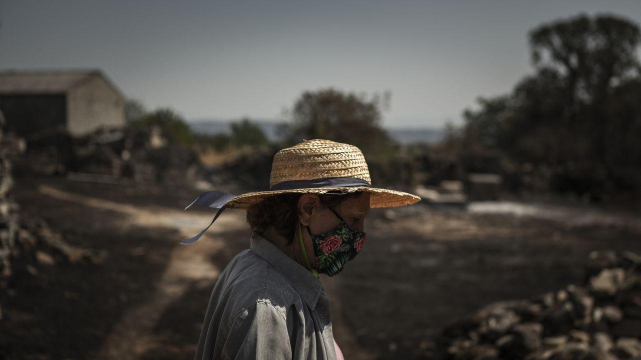 «A los 20 minutos de comenzar a arder, el fuego ya estaba aquí».Imagen del incendio forestal de Cualedro, que comenzó el miércoles