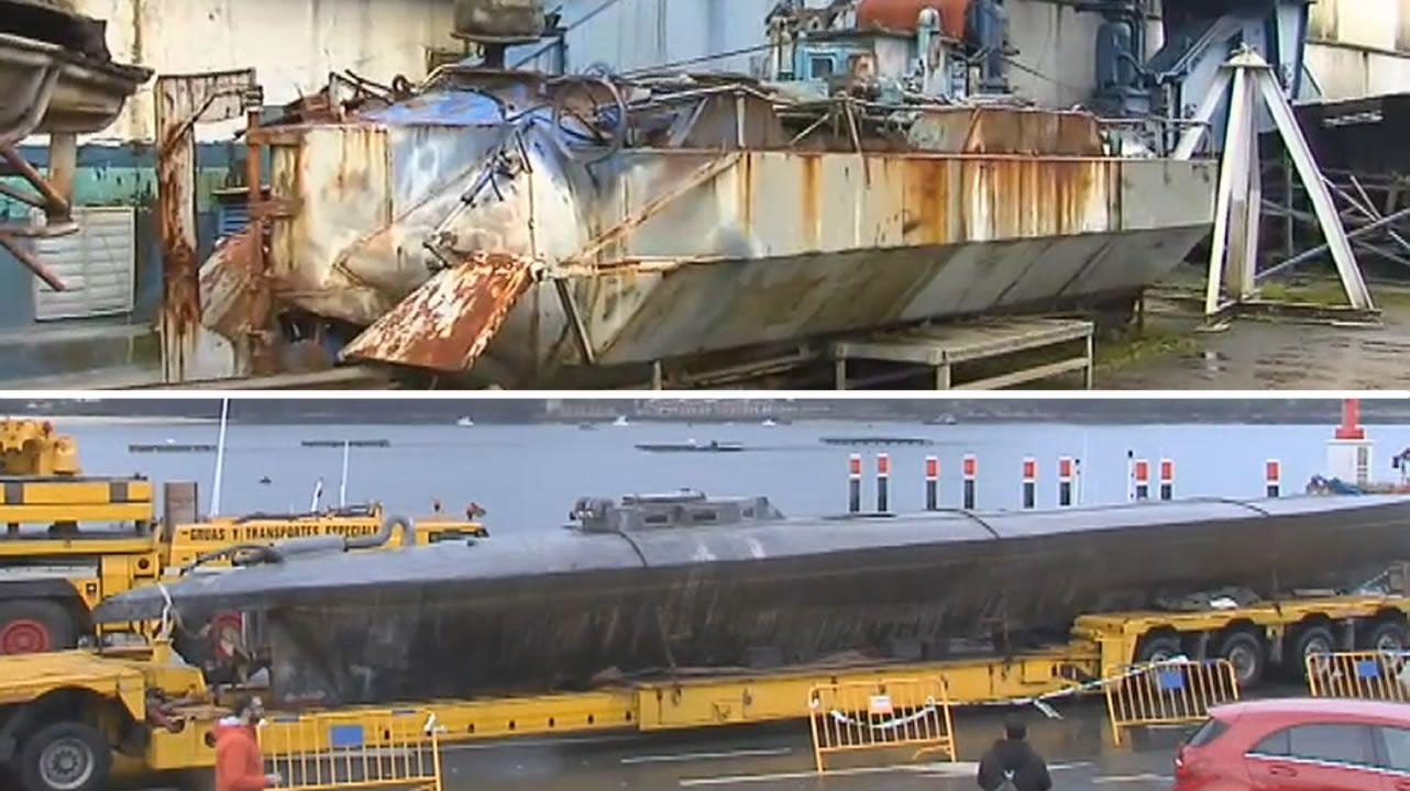 Así era el primer narcosubmarino que fue detectado en Galicia en 2006.Fardos de cocaína incautados en el narcosubmarino que se hundió en la ria de Aldán