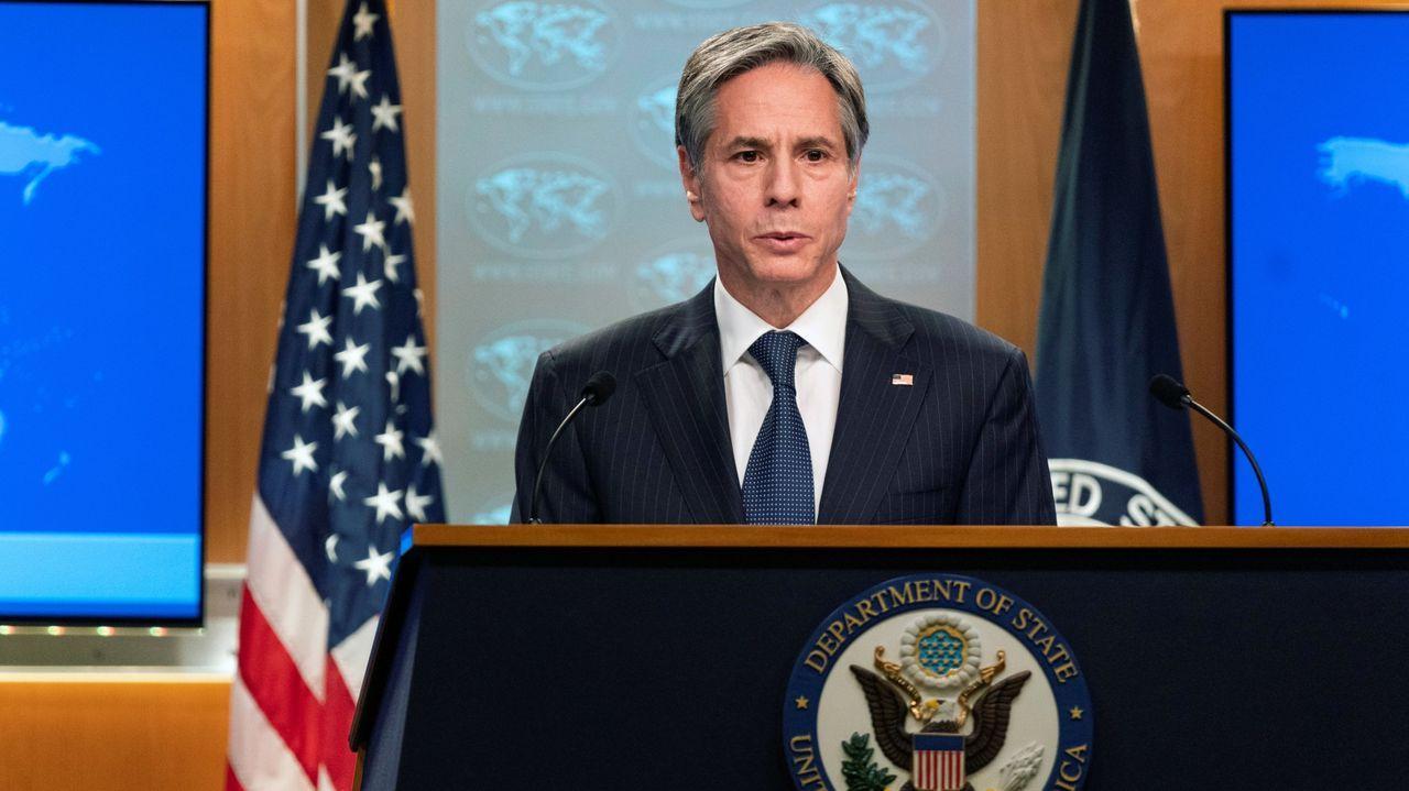 El secretario de Estado de EE.UU., Antony Blinken, durante una comparecencia en febrero