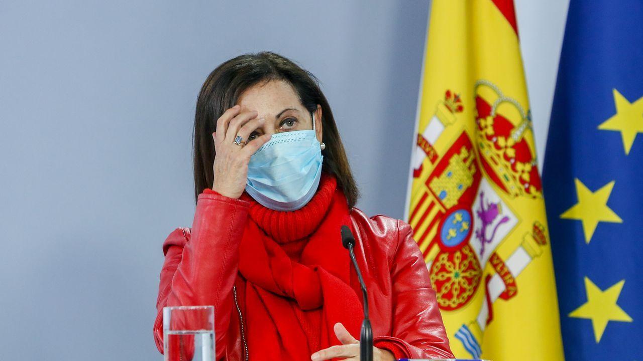 La ministra de Defensa, Margarita Robles, este miércoles en rueda de prensa en la Moncloa