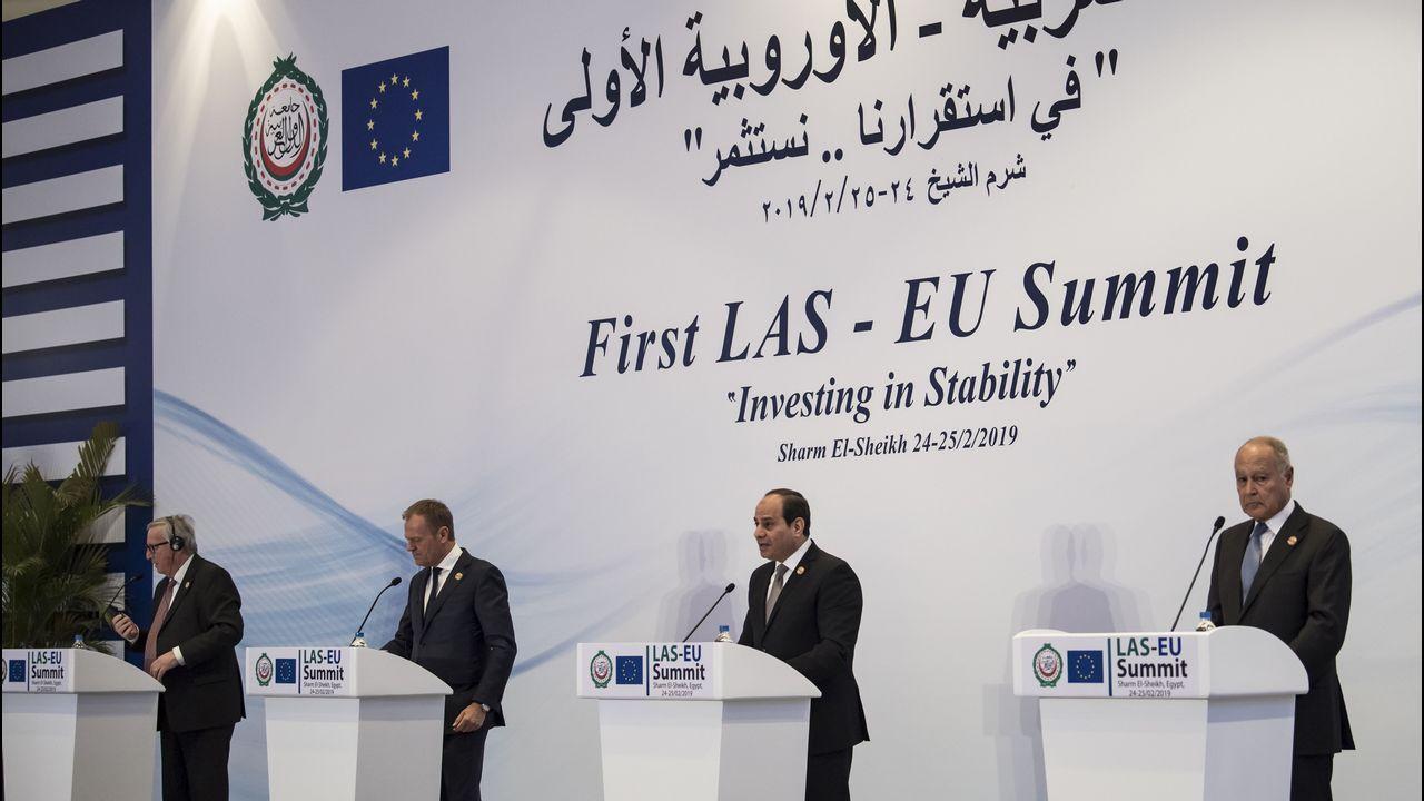 Juncker y Tusk, a la izquierda, junto a Al Sisi y Abul Gheit