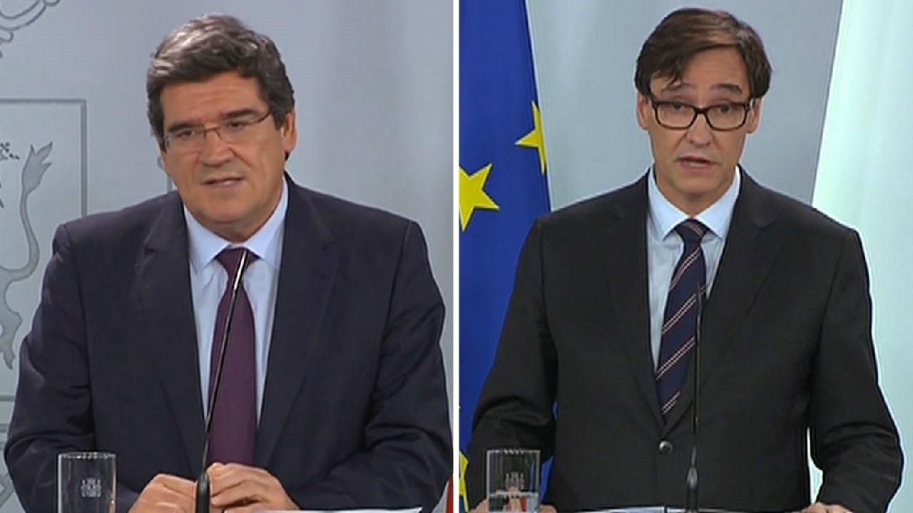 Los ministros Escrivá e Illa, en rueda de prensa