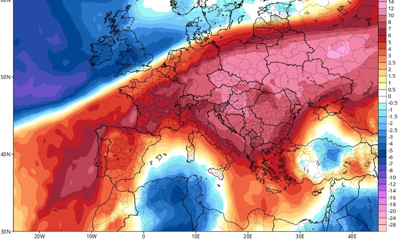 Mapa de anomalías térmicas previstas para el domingo en Europa