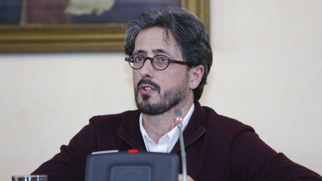 Carlos Portomeñe, en un pleno del Concello en 2017
