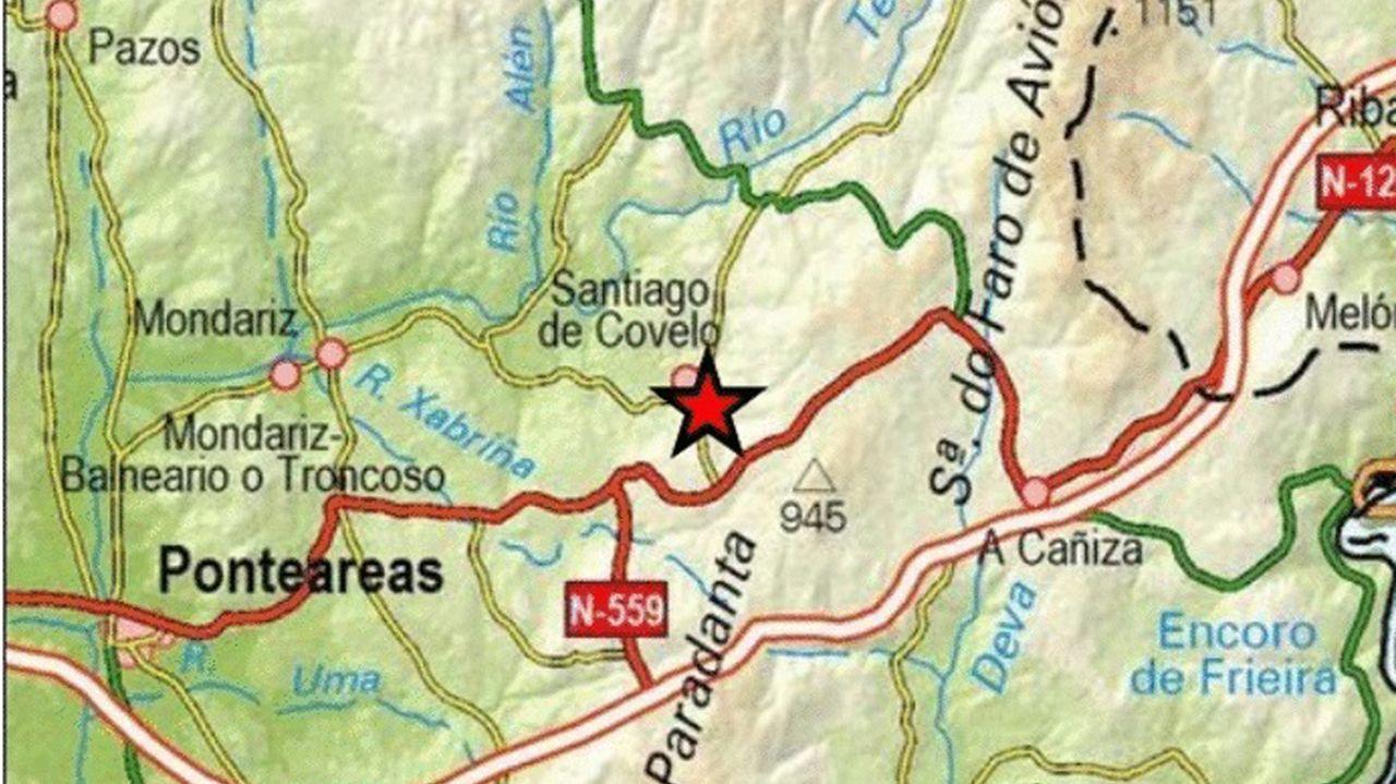 Localización del epicentro del sexto temblor, de una 2,5 mbLg, registrado en Covelo. En la zona se produjo una elevada actividad sísmica en pocas horas.