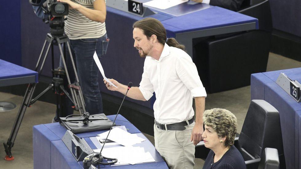 Pablo Iglesias, durante una sesión plenaria en Estrasburgo en el 2014