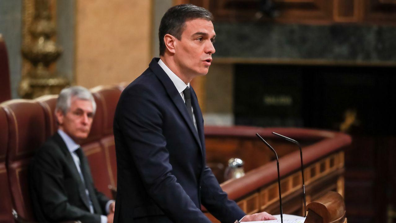 Pedro Sánchez, en su comparecencia este miércoles en el Congreso de los Diputados, durante la que se refirió a Alcoa
