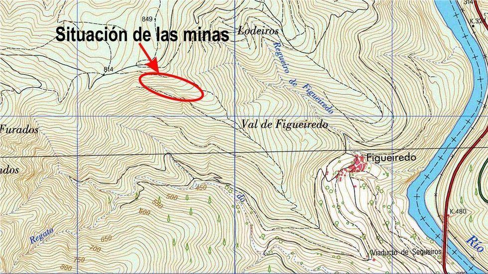 En este mapa se indica la situación de las minas con respecto a la aldea de Figueiredo. El río que se ve a la derecha de la imagen es el Sil
