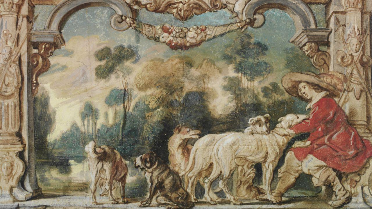 barrie.APROVECHAR CADA RETAZO. Jacob Jordaens pintó en 1635 esta acuarela, «Cazador descansando con sus perros» sobre pequeños trozos de papel pegados. Hay que acercarse para notar los remiendos