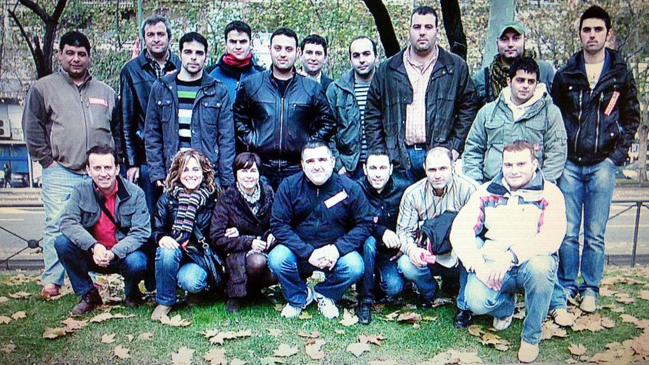 Grupo de mineros que en 2010 fueron a Madrid para pedir la derogación de la Decisión 787 de la UE
