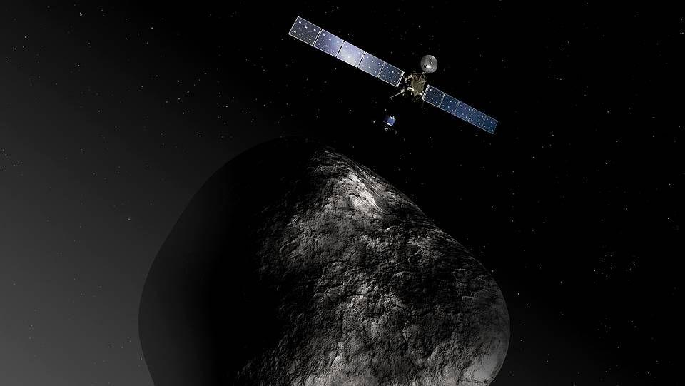 Impresión artística de la sonda Rosseta frente al cometa 67P/Churyumov-Gerasimenko