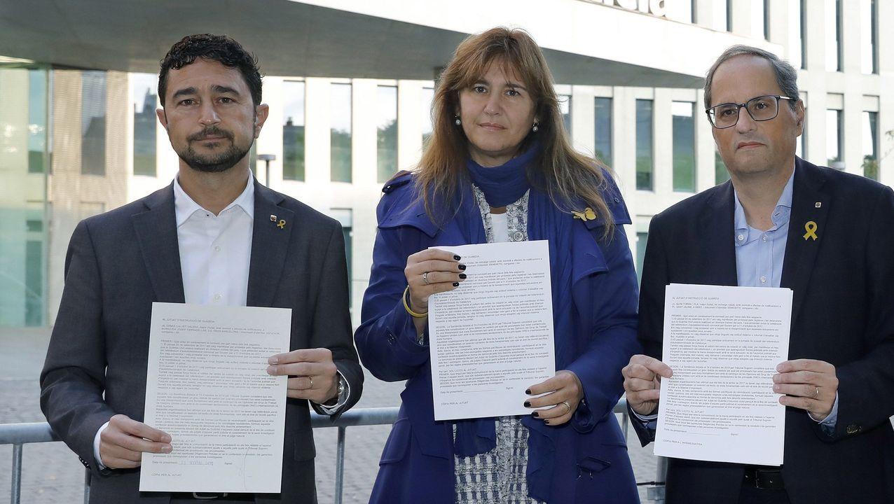 Torra, junto a la diputada Laura Borrás y el consejero de Territorio, Damià Calvet