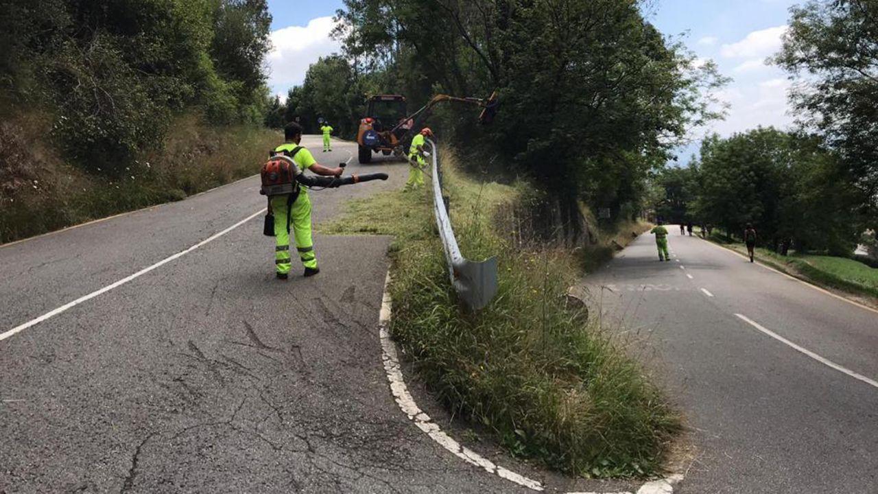 Trabajadores del Ayuntamiento de Oviedo desbrozando