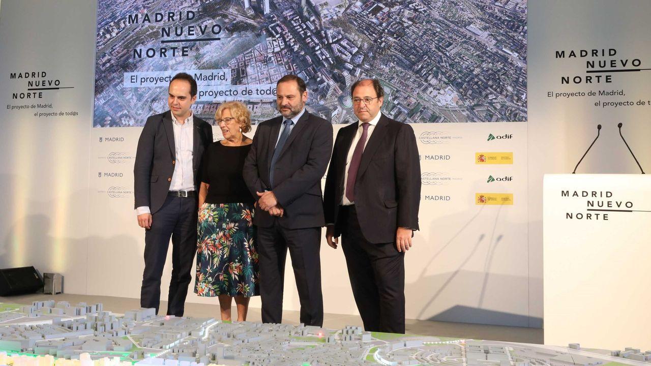 Las compras inmobiliarias más emblemáticas de Amancio Ortega.Ayuso (PP), Monasterio (Vox) y Aguado (Cs) durante una reunión