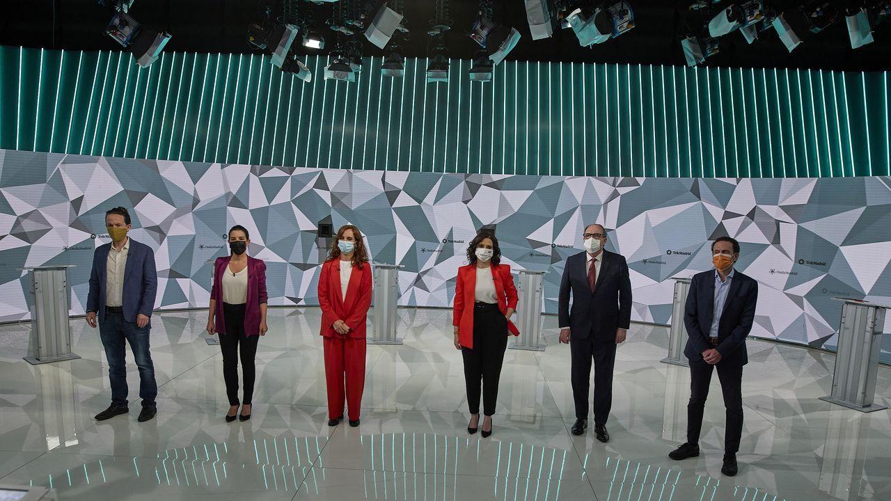 Pablo Iglesias e Isabel Díaz Ayuso, durane el debate de Telemadrid; Florentino Pérez, en el Chiringuito antes de que fracasara su proyecto de Superliga