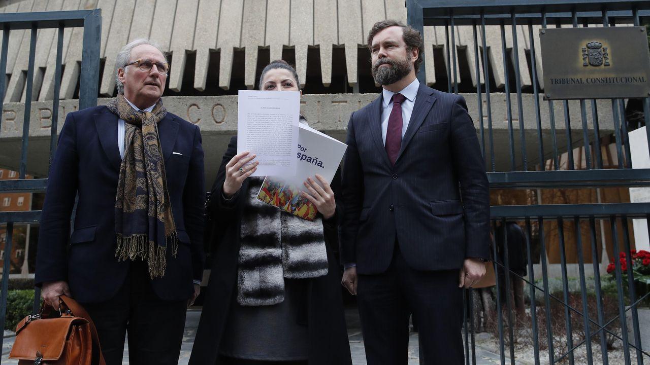 El portavoz de Vox en el Congreso, Iván Espinosa de los Monteros (primero por la derecha), la secretaria general Macarena Olana y el diputado Juanjo Aizcorbe, durante la presentación del recurso en el Tribunal Constitucional