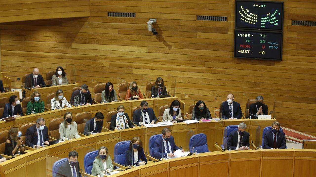 Momento de la votación de la petición del traspaso, esta mañana en el Parlamento