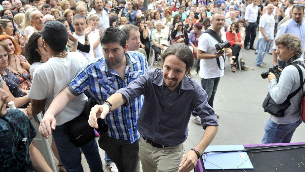 El líder de Podemos, durante su visita a Ferrol en julio del 2015