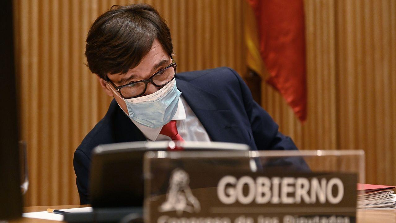 Los ministros de Sanidad e Interior comparecen tras el Consejo de Ministros extraordinario para declarar el estado de alarma en Madrid.Los vicepresidentes del Gobierno, Carmen Calvo y Pablo Iglesias