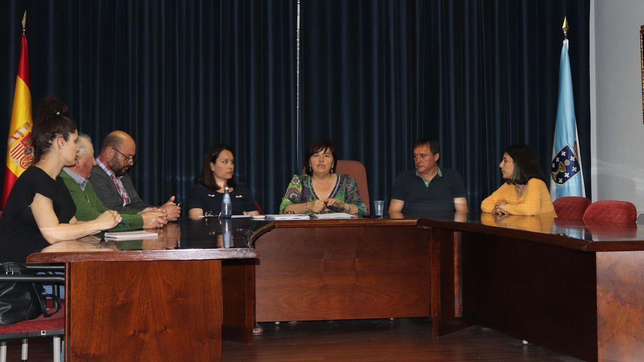 Los alcaldes de Barbanza en la jornada de reflexión.Un operario hace labores de limpieza en un monte pontevedrés