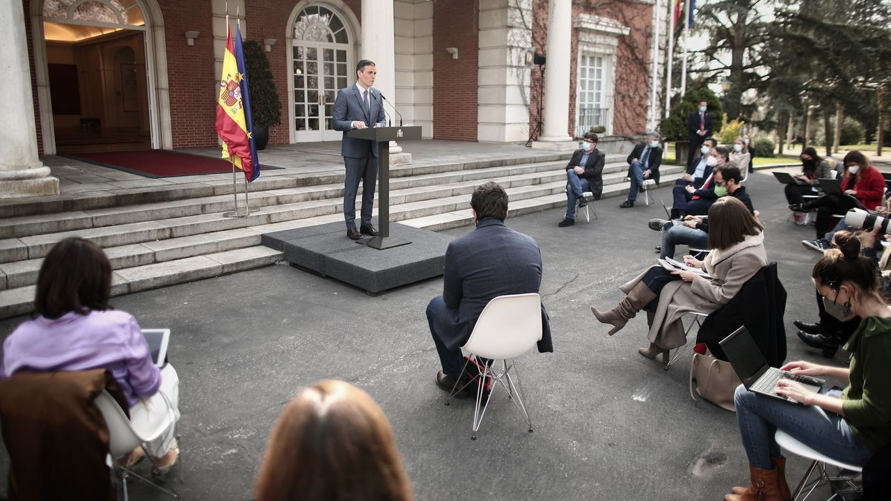 El presidente del Gobierno, Pedro Sánchez, compareció este viernes por primera vez en rueda de prensa desde el pasado mes de diciembre
