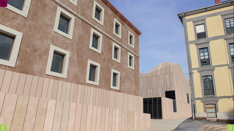 El cuerpo central y, al fondo, simulación del edificio de nueva planta, desde la plaza de Arturo Arias