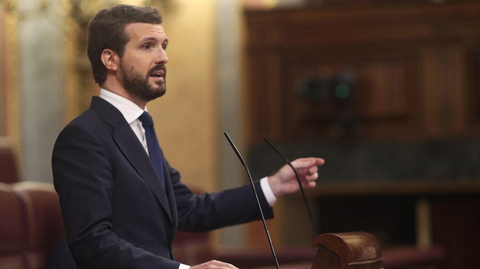 Pablo Casado anuncia el voto negativo del PP a la moción de censura de Vox