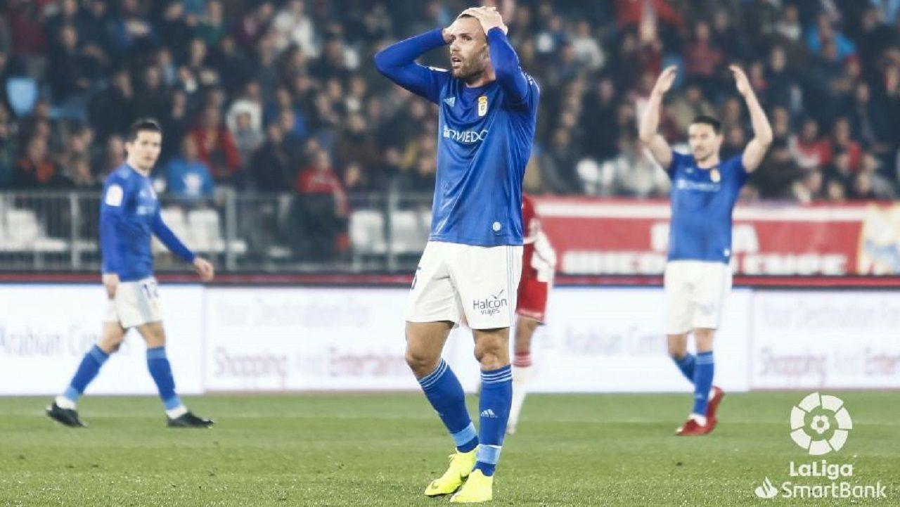 Ortuño se lamenta tras una ocasión ante el Almería